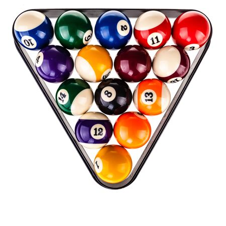 pool balls: the pool balls arranged in a triangular shape isolated over a white background