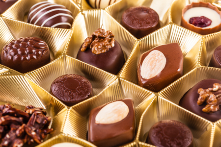 pralines: a box of various types of delicious chocolate pralines