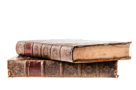 hardcover: ancient 1500s books with very weathered hardcover isolated over a white background
