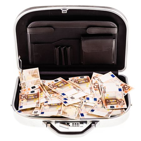 criminal case: a metal suitcase filled with a lot of 50 euro banknotes isolated over a white background