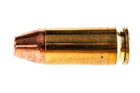 caliber: macro shot of a 9mm caliber bullet isolated over a white background Stock Photo