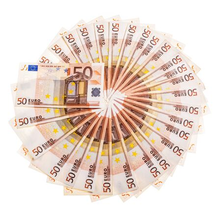 encash: a circle made of fifty euro banknotes isolated over a white background