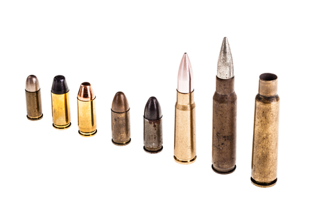 different type of bullets isolated over a white background