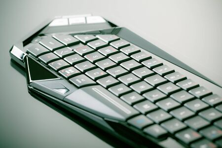 sleek: close up shot of a sleek black gaming keyboard with the wasd keys underlined over a shiny surface