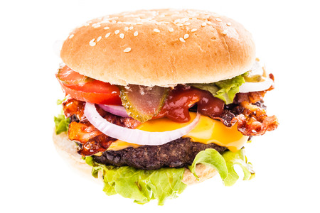 a big and tasty bacon cheeseburger isolated over a white background Archivio Fotografico
