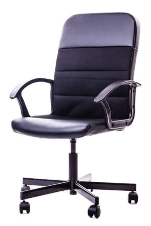 soft furnishing: a black office chair isolated over a white background