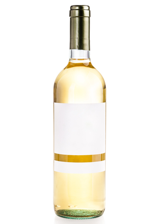 sauvignon blanc: a blank labeled white wine bottle isolated over a white background Stock Photo