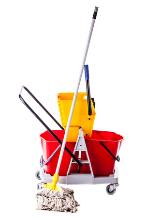 a professional mop bucket cart isolated over a white background Foto de archivo