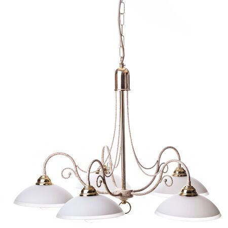 electric fixture: an old and simple chandelier isolated over a white background Stock Photo