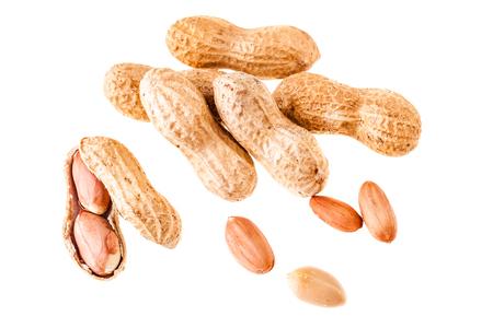 legumbres secas: un gran maní madura aislada sobre un fondo blanco Foto de archivo