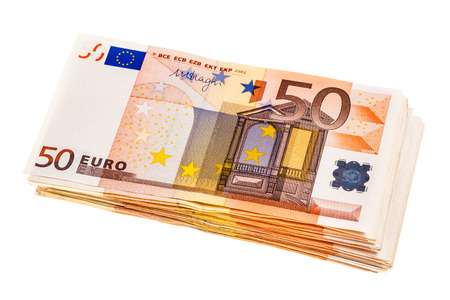 a bundle of 50 euro banknotes isolated over a white background Standard-Bild - 81191326