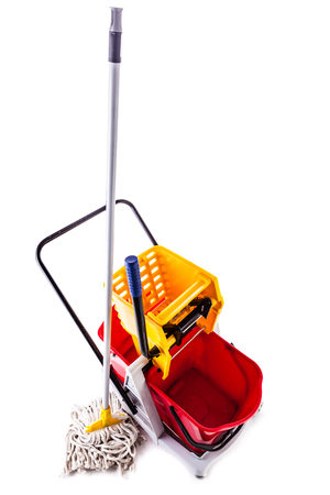 a professional mop bucket cart isolated over a white background Banco de Imagens