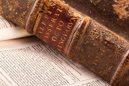 detail of ancient 1500s books with very weathered hardcover Reklamní fotografie