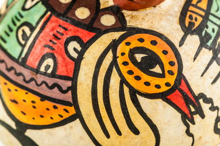 macro detail of an ancient maya painting on a vase Banco de Imagens