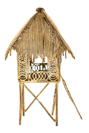 a model of a tropical hut isolated over a white background