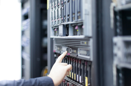 Network servers in a data center. Swallow depth of Field Banco de Imagens