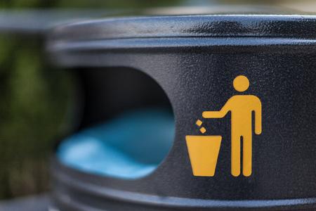 a symbol on a city trash bin in a croatian city Banco de Imagens