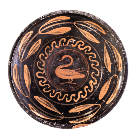 Daunian patera, Terracotta, red-figure style from San Severo isolated over a white background