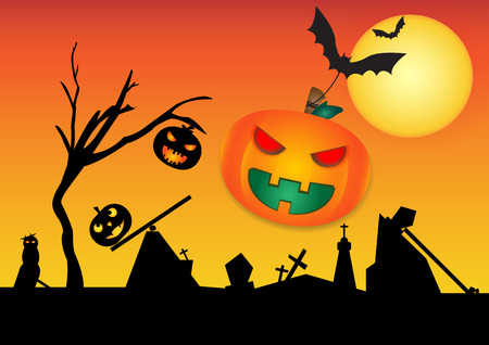 Halloween vector design on the orange backdrop. Illustration