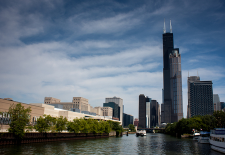 the sears tower: Chicago skyline from a boat in the river