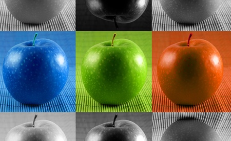 the chosen one: domination concepts - red, blue and green apples Stock Photo