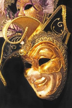 painted face mask: Gold carnival Venezian mask