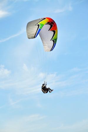 paraglider: Paraglider flying in summer day