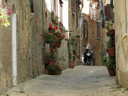The old Volterra street a nice Tuscany town from Italy photo