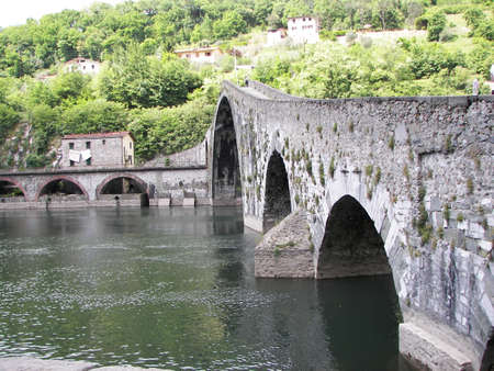 the devil bridge in the north of tuscany Stock Photo