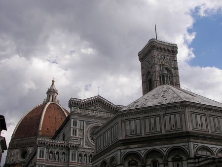 The cathedral, baptistery and the bell tower from Florence Italy