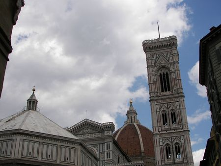 The cathedral, baptistery and the bell tower from Florence Italy Stock Photo - 3158310