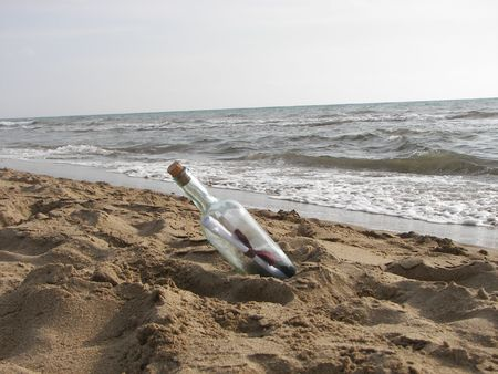 The letter in the bottle at the sea photo
