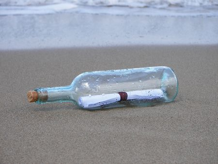 castaway: The letter in the bottle  Stock Photo
