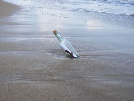 The letter in the bottle at seaside