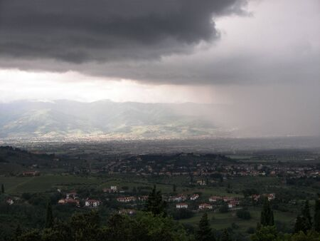 Incoming storm over the Florece valley from Tuscany Central Italy
