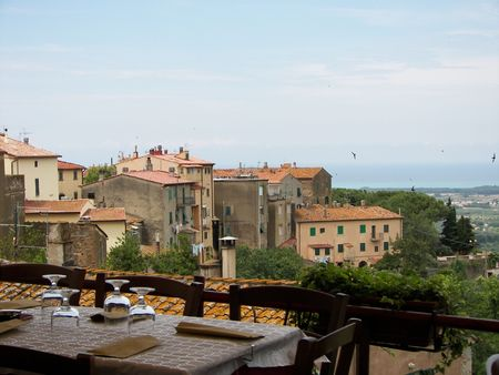 Nice tuscany landscape from a resturant terrace photo