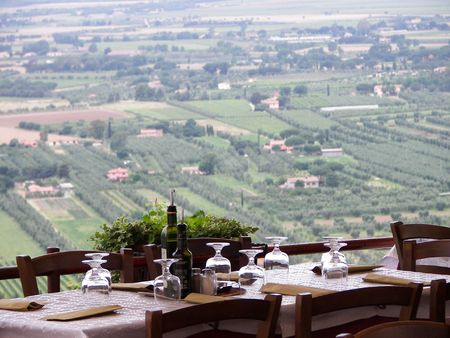 Nice tuscany landscape from a resturant terrace