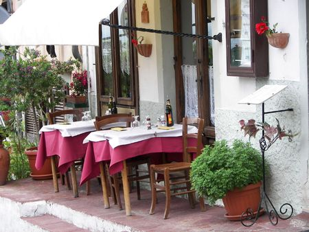 exemplary: Nice tuscany landscape from a resturant terrace