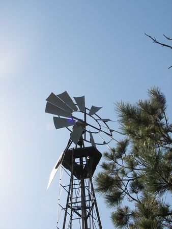 Well with wind pump