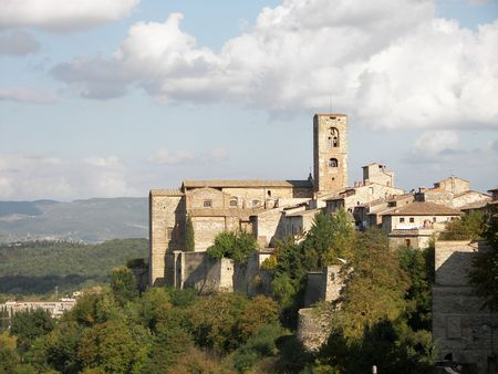 The medieval village of Collevaldelsa Stock Photo