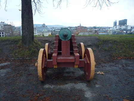 Guns to defend the fortress of Oslo Norway Stock Photo