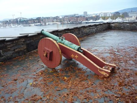 Guns to defend the fortress of Oslo Norway Stock Photo - 5912166