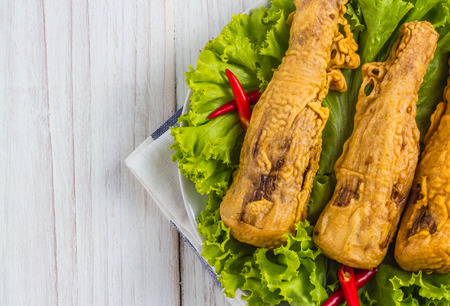 asian fried bamboo shoots on a plate with salad.top view of a horizontal.thai style 版權商用圖片