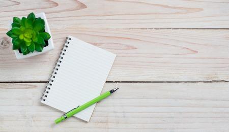 papeles oficina: Mesa Escritorio de oficina con el papel de nota y la flor. Vista superior con espacio de copia