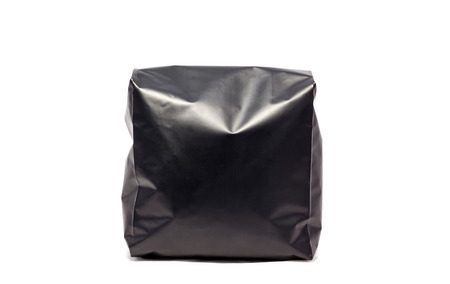 black foil bag pack isolated on white background Banque d'images
