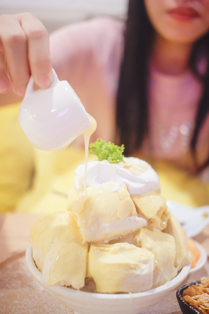 Bingsu Durian with Durian ice cream and Whipped cream served with condensed milk Фото со стока