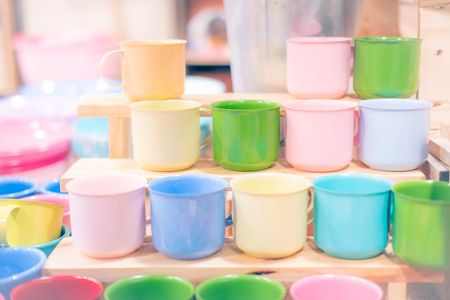Colorful mugs stainless steel, pastel colors