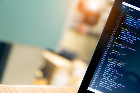 Blurry coding and programming for web development and web design concept, Development concept. Foto de archivo