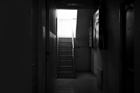 Stairs in the building. background black.