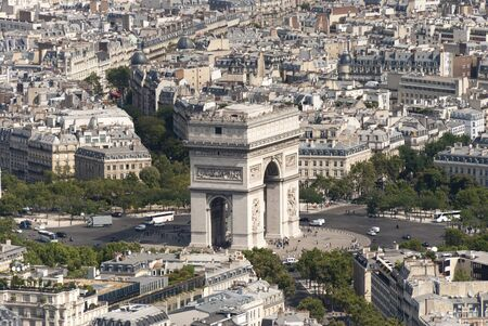Arc De Triomphe looking from the Eiffel Tower Stock Photo